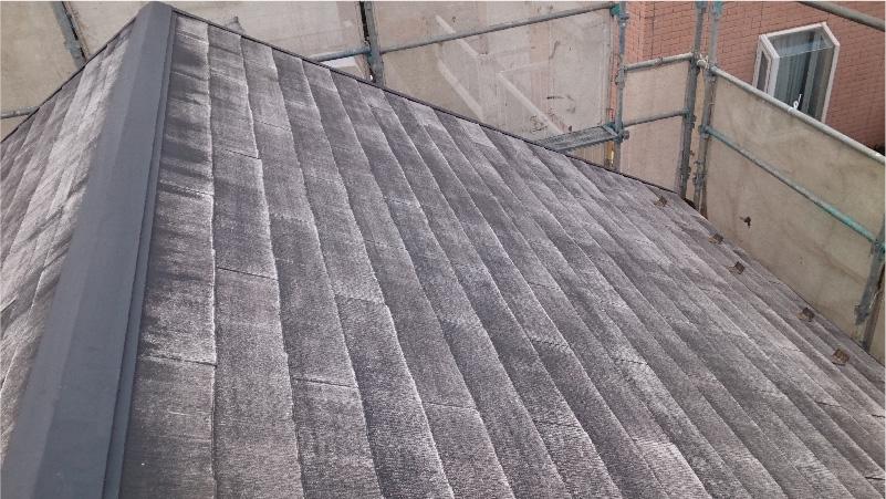 高圧洗浄後の屋根材