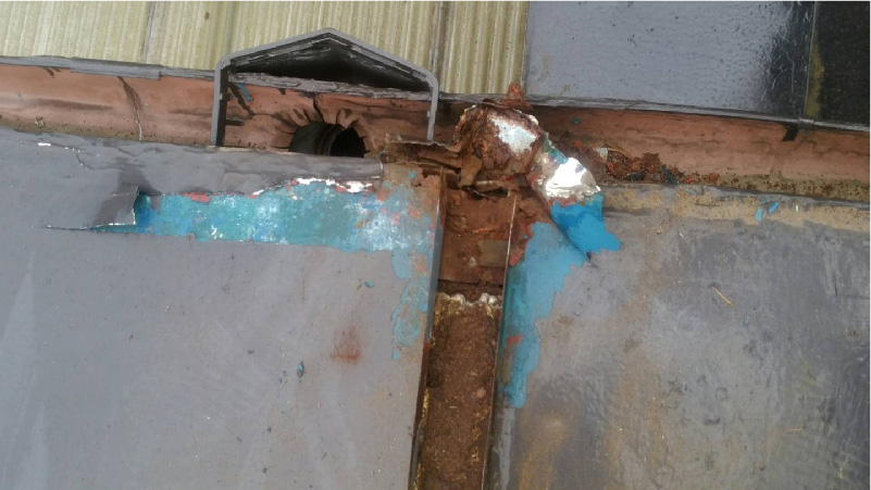 雨樋の詰りと屋根材のサビ