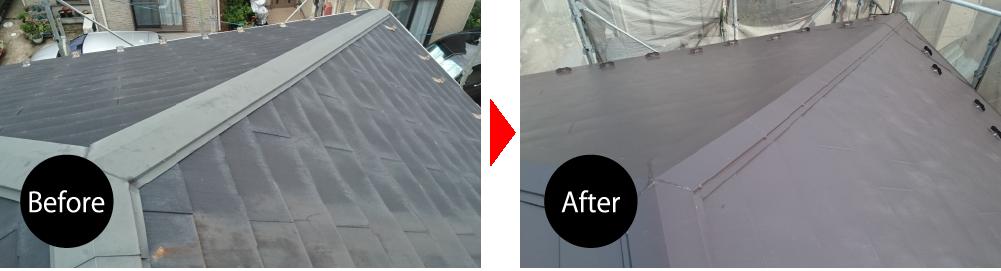 屋根リフォーム流山市カバー工法のビフォーアフター