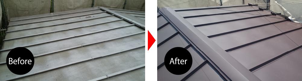 市川市のトタン屋根葺き替え工事のビフォーアフター