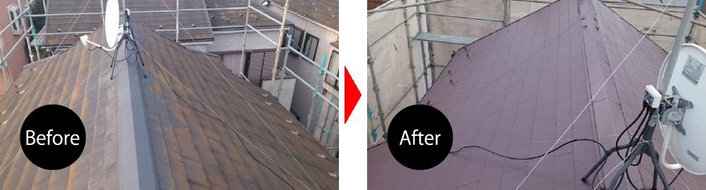 柏市の屋根塗装のビフォーアフター
