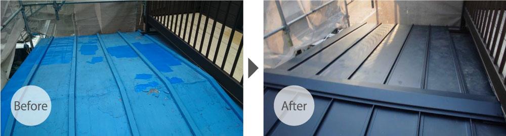 我孫子市のトタン屋根葺き替え工事の施工前と施工後の様子