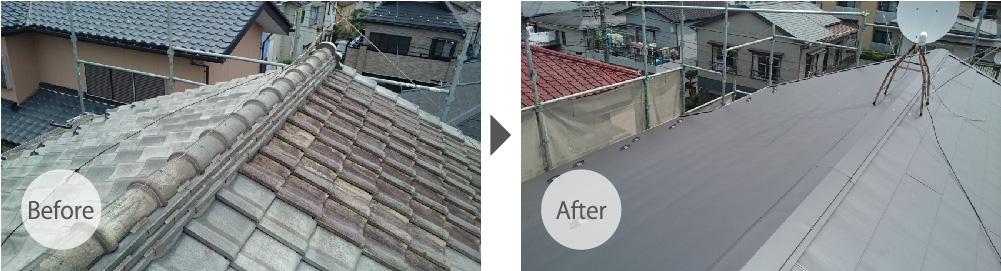 日本瓦からガルバリウム鋼板に葺き替えた大屋根の施工前と施工後の状態