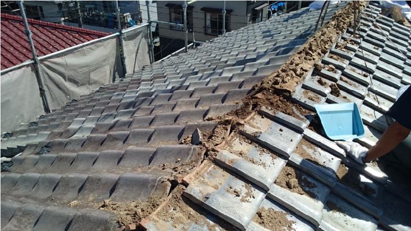 大屋根のアンテナの撤去