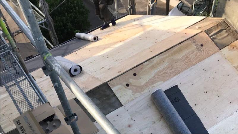 大屋根の野地板(コンパネ)の設置