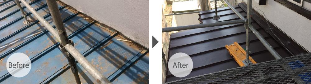 下屋根をトタン屋根からガルバリウム鋼板に変更