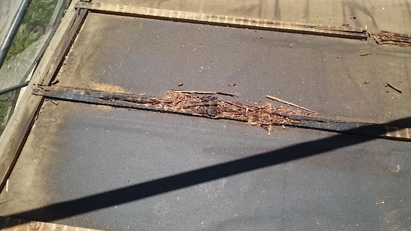 腐食している瓦棒の心木