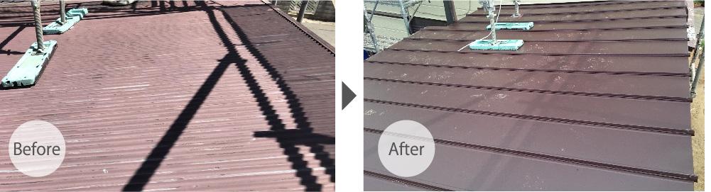 佐倉市の屋根葺き替え工事のビフォーアフター