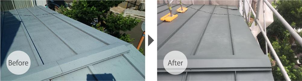 東京都板橋区のトタン瓦棒の葺き替え工事のビフォーアフター