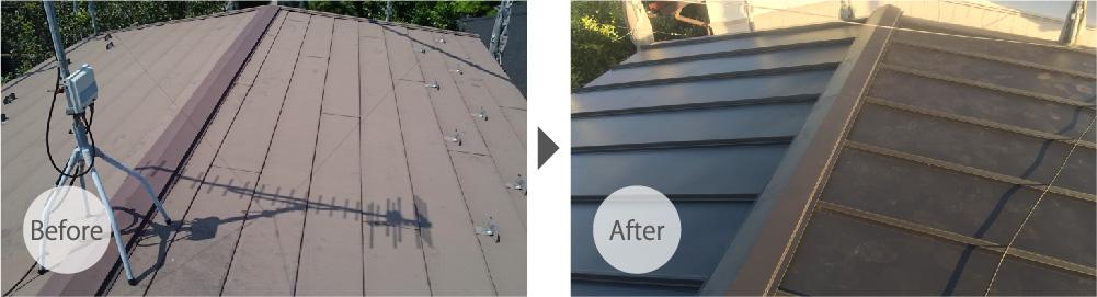 葛飾区の屋根のカバー工法のビフォーアフター