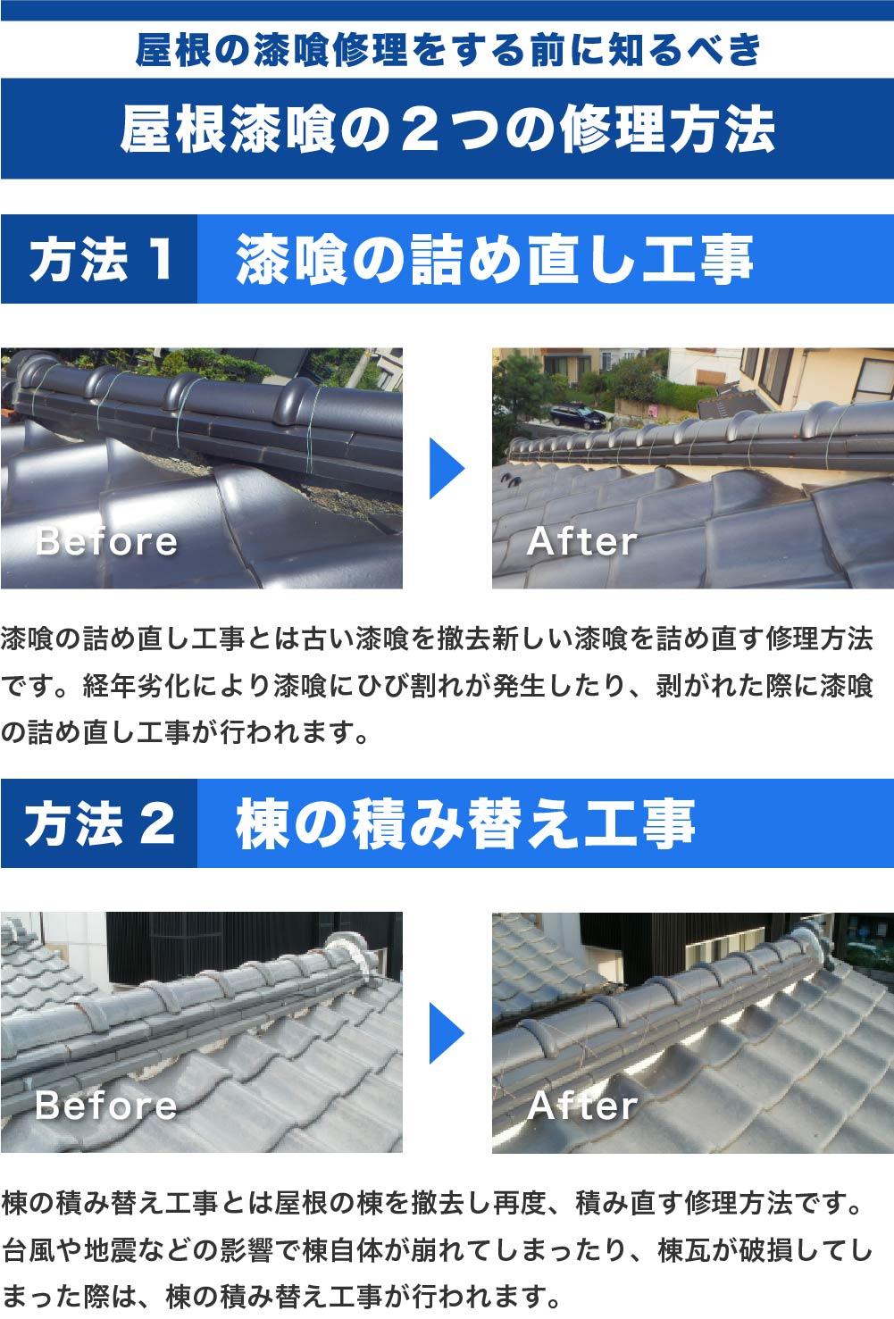 屋根の漆喰工事の種類