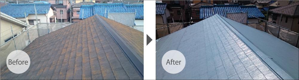 我孫子市の屋根塗装のビフォーアフター