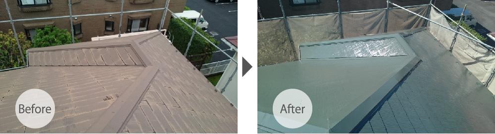 白井市の屋根塗装の工事のビフォーアフター