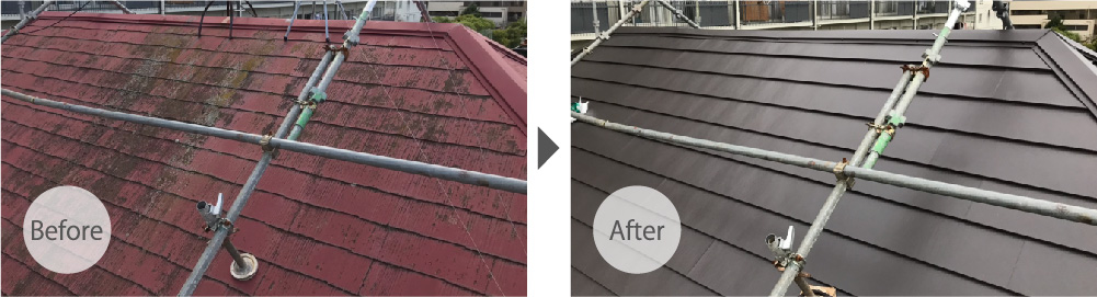 印西市の屋根リフォームのビフォーアフター