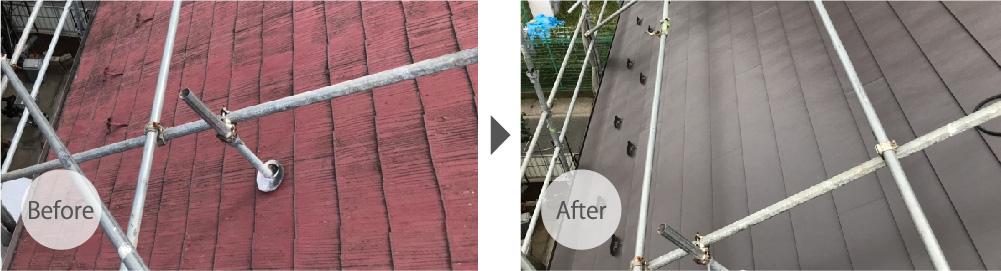 印西市の屋根カバー工法のビフォーアフター