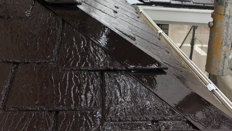 下屋根の上塗り