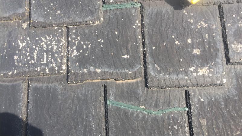 大屋根のひび割れ補修の様子
