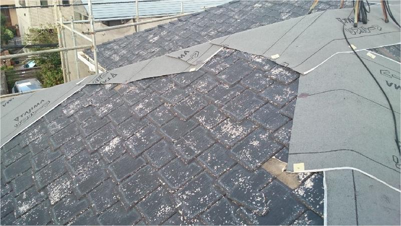 大屋根のルーフィングの設置