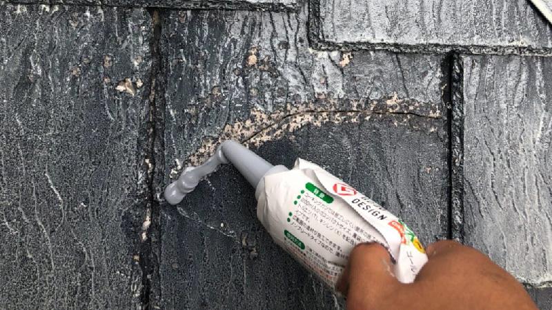 下屋根のひび割れ補修