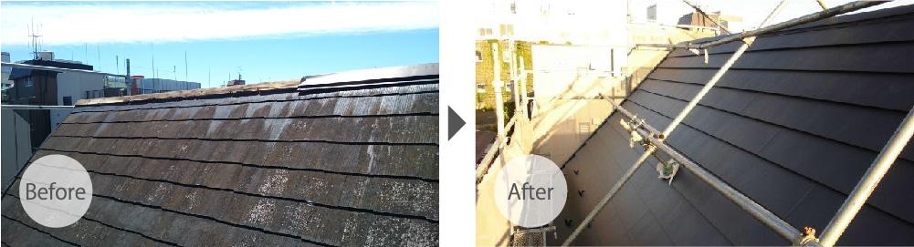葛飾区の屋根カバー工法リフォームのビフォーアフター