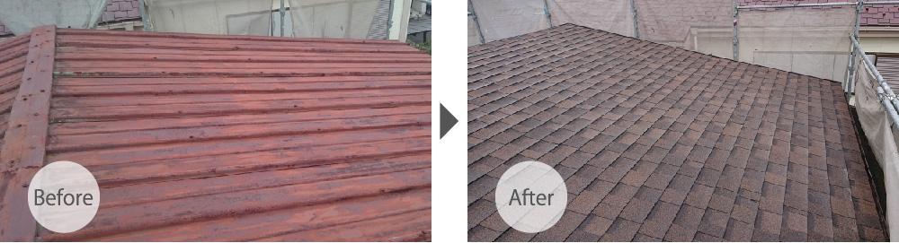 埼玉県川口市の屋根カバー工法のビフォーアフター