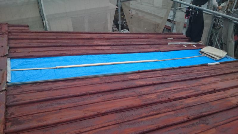 雨漏りが発生してブルーシート応急処置がされたトタン屋根