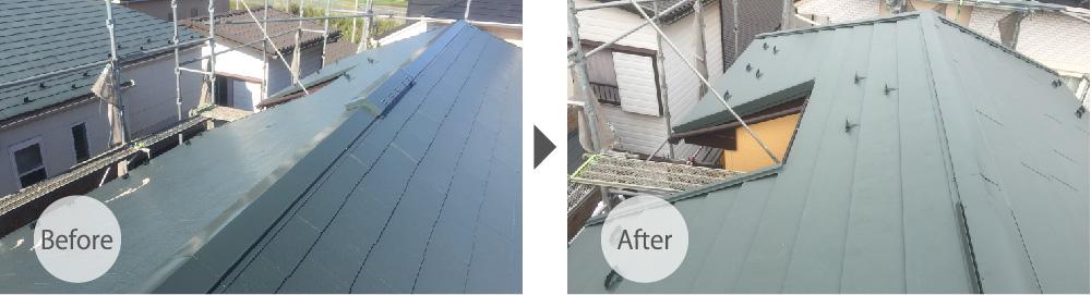 草加市の屋根カバー工法リフォームのビフォーアフター