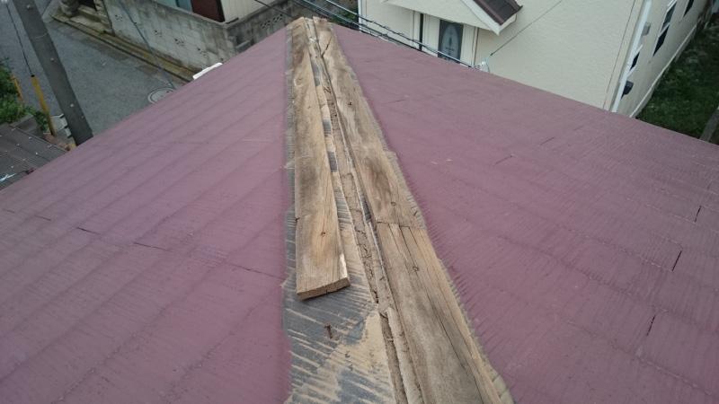棟板金の下地の撤去