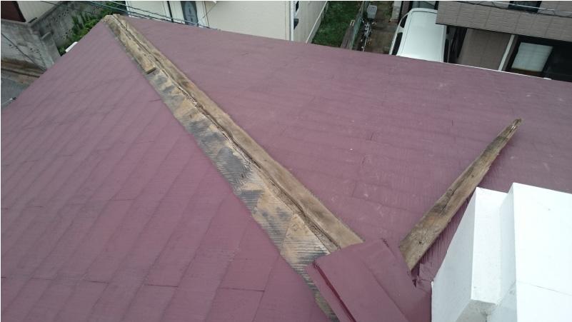 棟板金の施工前の劣化状態