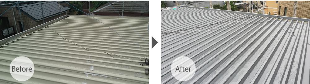 世田谷区の折半屋根の葺き替え工事のビフォーアフター