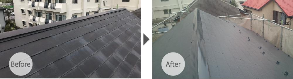 足立区の屋根塗装工事のビフォーアフター
