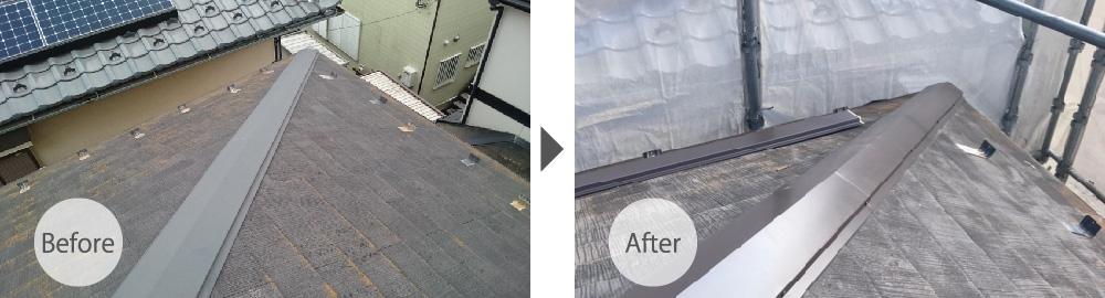 屋根塗装の施工前と施工後の様子