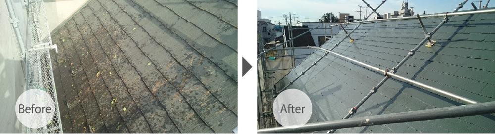 葛飾区の屋根塗装工事のビフォーアフター
