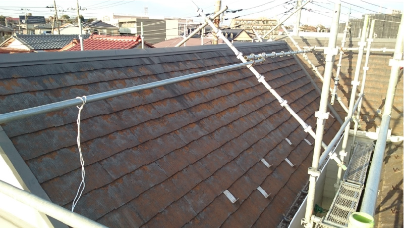 葛飾区の屋根塗装工事の施工前の様子