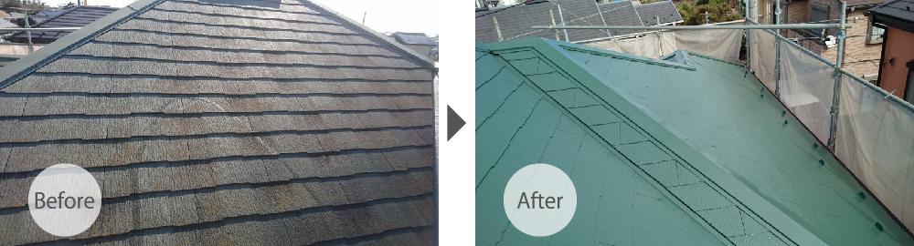 越谷市の屋根塗装のビフォーアフター