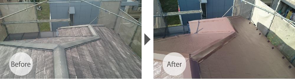 四街道市の屋根塗装工事のビフォーアフター