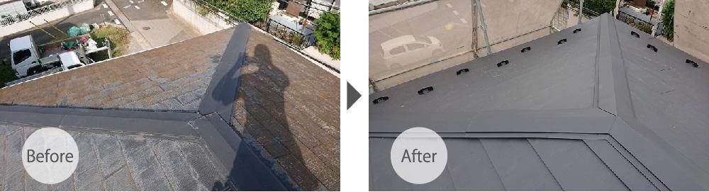 千葉市花見川区の屋根カバー工法のビフォーアフター