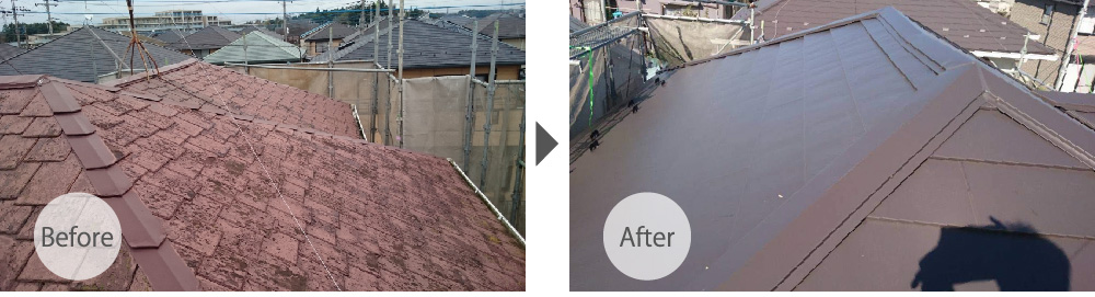 練馬区の屋根カバー工法のビフォーアフター