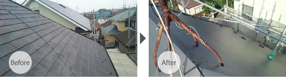 野田市の屋根カバー工法リフォームのビフォーアフター