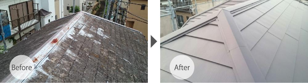 四街道市の屋根カバー工法リフォームのビフォーアフター