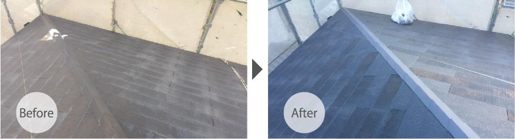 千葉市の屋根葺き直し工事のビフォーアフター