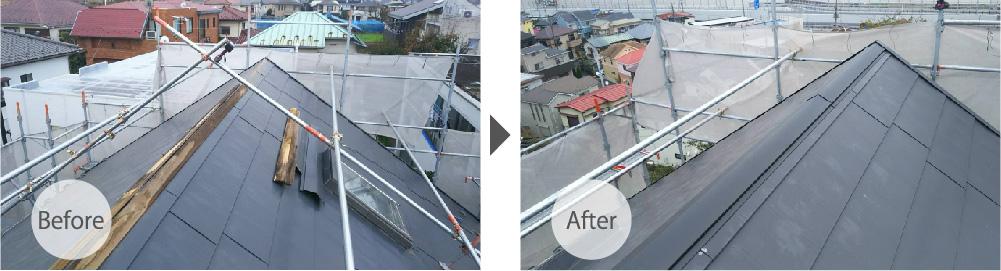 市川市の屋根板金工事のビフォーアフター