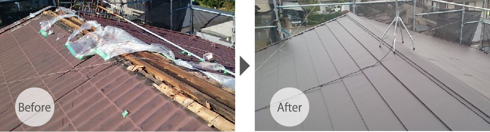 屋根カバー工法の施工前と施工後の様子