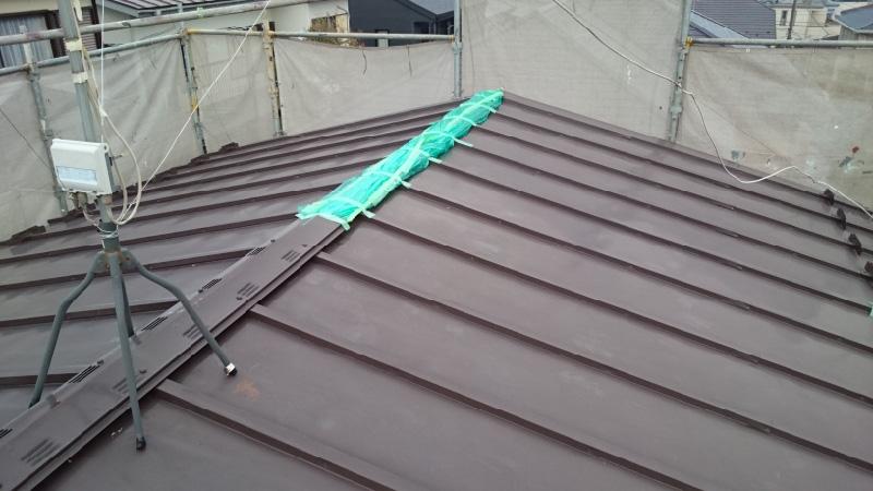 柏市屋根葺き替え工事に施工前の様子