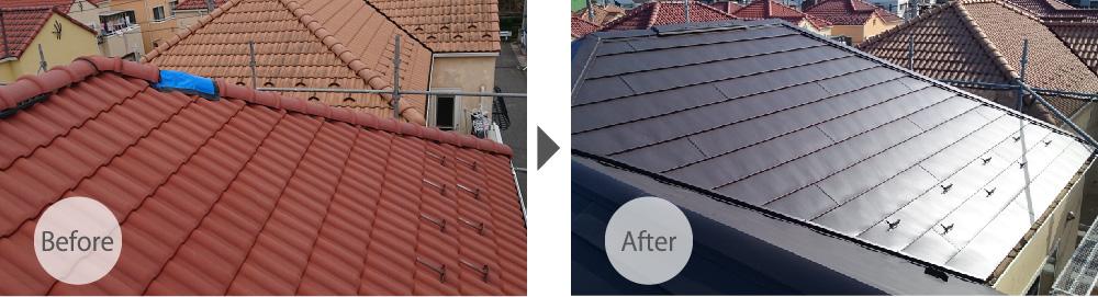 瓦屋根からガルバリウム鋼板に葺き替え