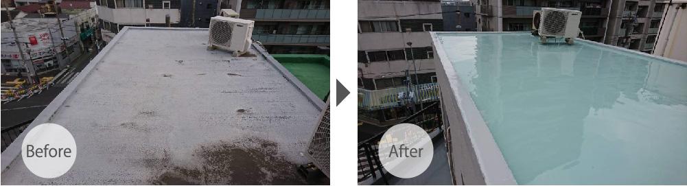 江戸川区の屋上防水工事のビフォーアフター