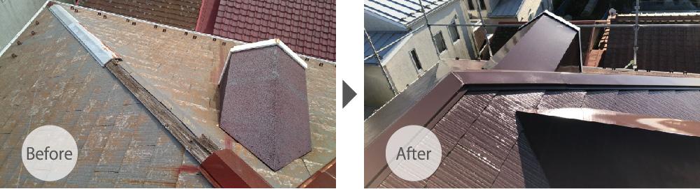 千葉市の屋根塗装・棟板金交換工事のビフォーアフター
