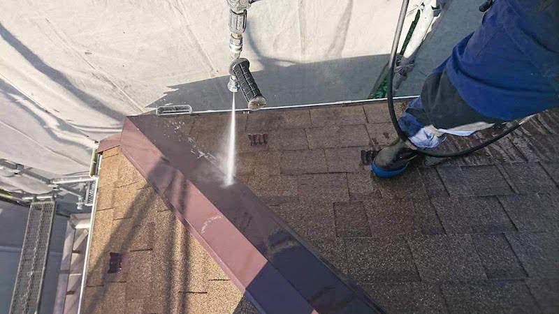 アスファルトシングル屋根の高圧洗浄