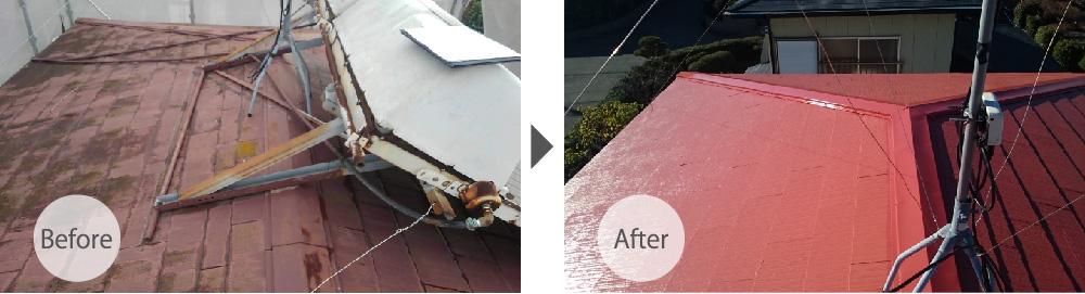 三郷市の屋根塗装・屋根板金交換工事のビフォーアフター