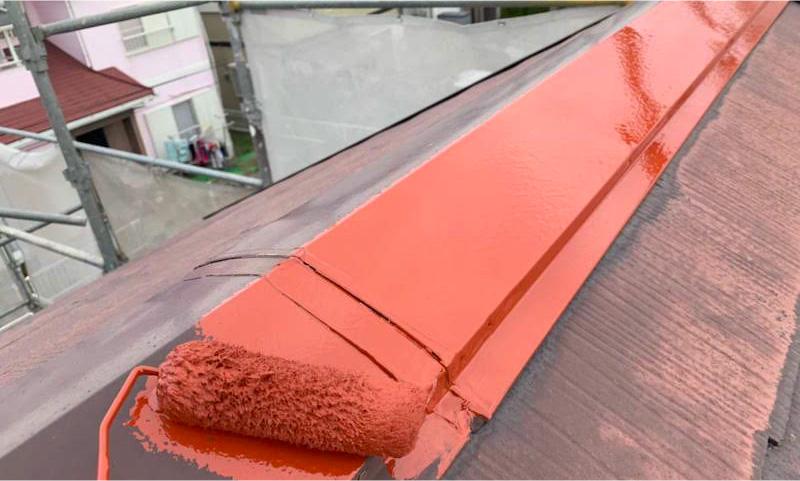 屋根板金の錆止め塗装